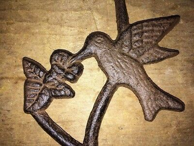 "Hummingbird Plant S Hook, antique brown cast iron 17.5"" flower pot basket hanger 4"