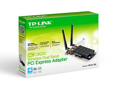 TP-LINK ARCHER T6E AC1300 Wireless DualBand PCI Express Adapter 1300Mbps Win 10