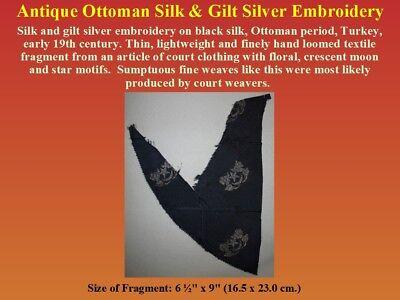 Antique Ottoman Textile Fragment Silk Gilt Silver Embroidery 19th century Turkey 4