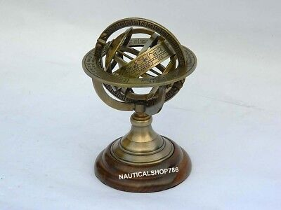 Antique Sphere Armillary Nautical World Globe Table Top Office Decor 5 Inches 2
