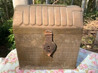 Antique Decorative Brass and Timber Wood Treasure Chest Trunk Wine Bottle Box 3