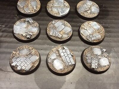 10 x 32mm Unpainted Resin bases ruined city Warhammer 40K Sigmar Frostgrave 3