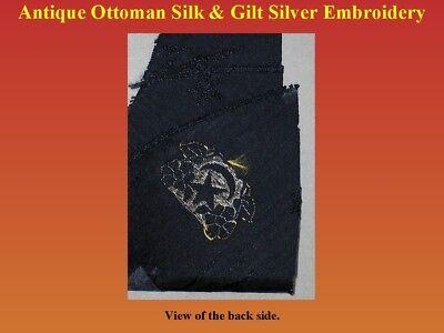 Antique Ottoman Textile Fragment Silk Gilt Silver Embroidery 19th century Turkey 5