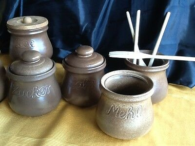 6 alte große Keramik DOSE Deckeldose Dosen Vorratsgefässe KAFFEE & TEE handarbei 4