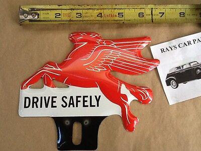 "/""MOBIL DRIVE SAFELY/"" Vinyl Sticker Decal Garage Service Station Vintage Style"