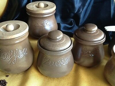 6 alte große Keramik DOSE Deckeldose Dosen Vorratsgefässe KAFFEE & TEE handarbei 2