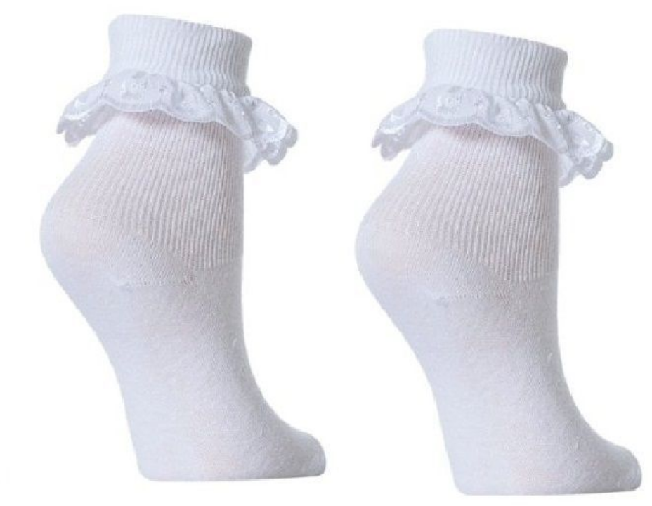 3 and 6 Pairs Girls  Cotton School Socks for Kids, Frilly Lace Ankle 4