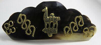 Haarspange Haarclip Horn Naturschmuck Goldverzierung Lama Inka Peru Damen Neu!!