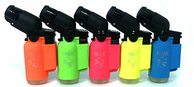 5 Pack Eagle Torch Neon Color 45 Degree Angle Jet Flame Lighter Refillable 4