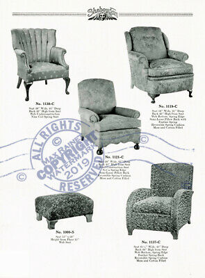Sheboygan Fiber Furniture 1937 CATALOG Wicker Rattan Upholstered Chairs + Settee 9