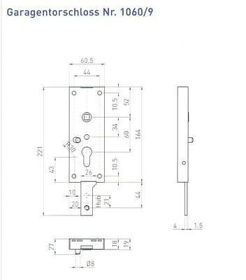 Garagentorschloß Garagen Schloss 1060//9 für Schwingtore