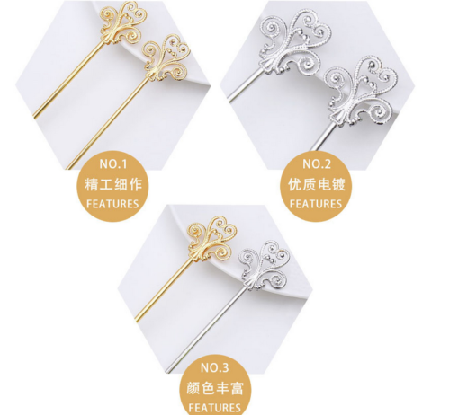 NEW 10X large U-shaped wave Hairpin Retro iron jewelry accessories 100MM 2