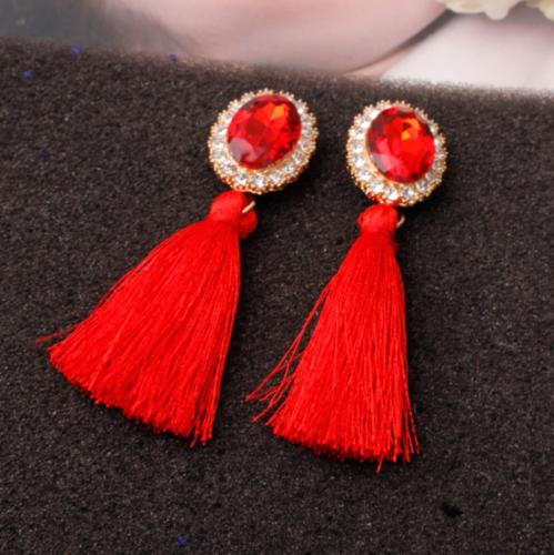 Fashion Women Ethnic Long Tassel Earrings Geometric Crystal Drop Dangle Earrings 8