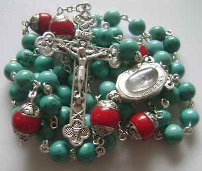 Natural Turquoise & Coral beads Lourdes Water Rosary Cross crucifix Necklace 12