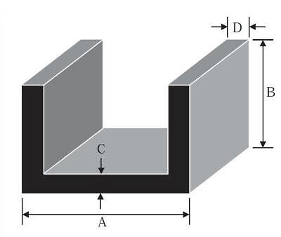 "2500mm ALUMINIUM CHANNEL U  PROFILE 3//4/"" Lengths 100mm 4 variations 19.0mm"