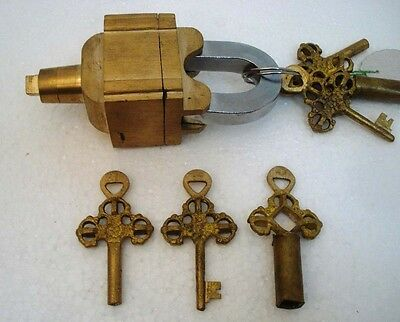 Brass Padlock Square Trick Puzzle Lock  with 6 Keys 7