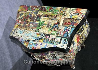 Pair Chest Drawers Comic Print Bedside Chests Tables Nightstands 3