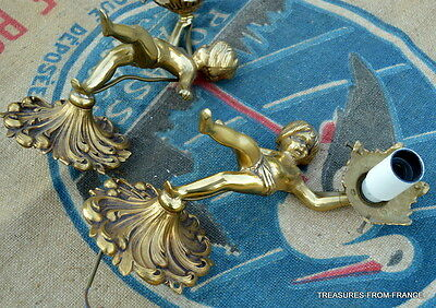 TWO French antique bronze cherub light fittings re wired 110-240v 3 • CAD $376.74