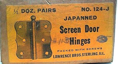 "Nos Lot Of 2 (1 Pair) Vintage 3"" Steel Japanned Screen Door Hinge With Screws Dm"