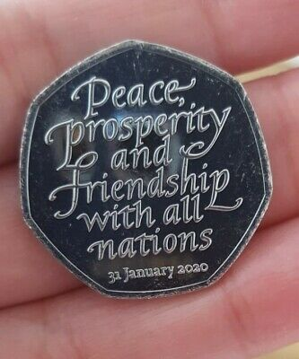 BREXIT 50p Pence january 2020  Peace, Prosperity & Friendship all Nations 3