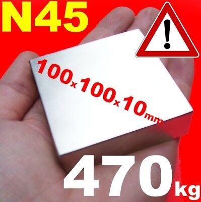 2 Stück a 470 kg SUPER NEODYM MAGNET 100x100x10 mm MAGNETE N45 Powermagnet