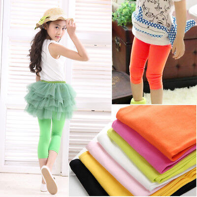 Candy Kid Girl Child Baby Slim Skinny Leggings Shorts Pants Tight Cropped 2