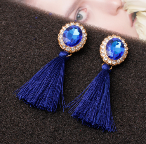 Fashion Women Ethnic Long Tassel Earrings Geometric Crystal Drop Dangle Earrings 10