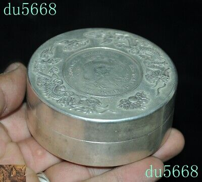 Chinese dynasty Tibetan silver double Dragon Loong coin small Storage Box Boxes 3
