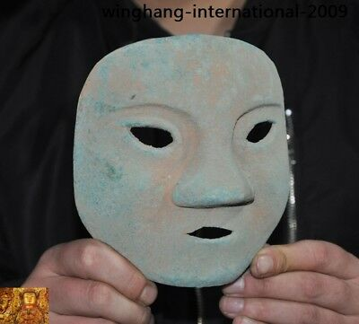 Rare China Ancient dynasty Bronze Ware Sacrifice Ritual people head mask statue 6