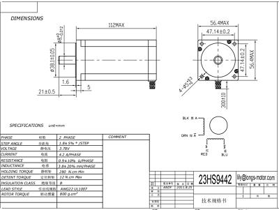 US FREE SHIP! 3PCS Nema23 Stepper Motor 4.2A 435oz-in 112MM 23HS9442 CNC KIT 5