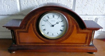 Vintage Inlaid Wood Swiss Key Wind Mantle Clock - Working - See 12 Pics + Video 2