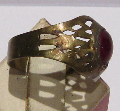 VINTAGE NICE BRONZE RING WITH RED STONE FROM THE EARLY 20th CENTURY # 66A 3