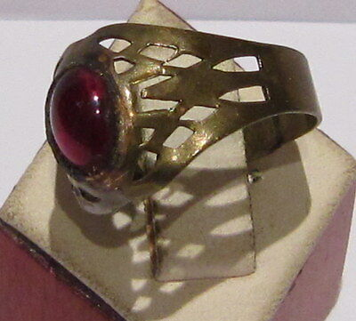 VINTAGE NICE BRONZE RING WITH RED STONE FROM THE EARLY 20th CENTURY # 66A 2