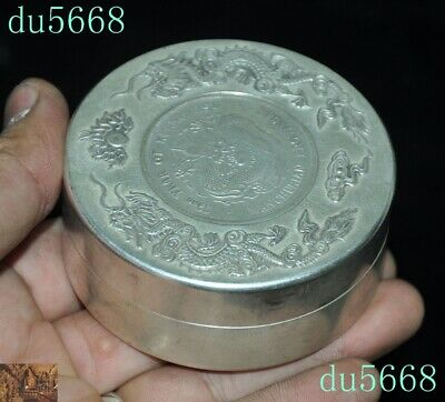Chinese dynasty Tibetan silver double Dragon Loong coin small Storage Box Boxes 5