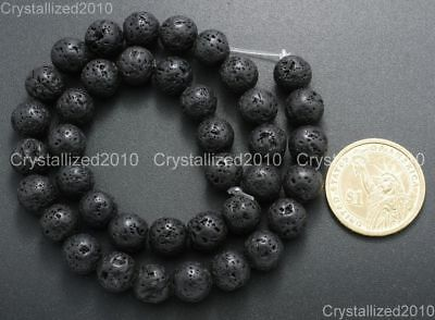 "Natural Black Volcanic Lava Gemstone Round Beads 4mm 6mm 8mm 10mm 12mm 15.5"" 5"