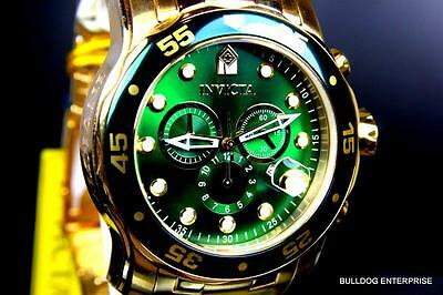 Mens Invicta Pro Diver Scuba 18kt Gold Plated Chronograph Green 48mm Watch New 10