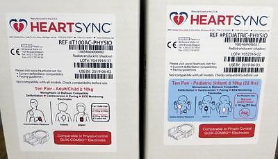 Étui de 10 Physio Contrôle Heartsync Adulte & 10 Pédiatrique Lifepak Électrodes 2