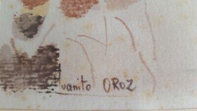 """JUANITO OROZ """" Alarde de Fuenterrabía """" Acuarela Firmado Unico 1976 Enmarcado 4"""