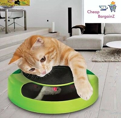 Pet Cat Kitten Catch The Mouse Moving Plush Toy Scratching Claw Care Mat Play UK 2