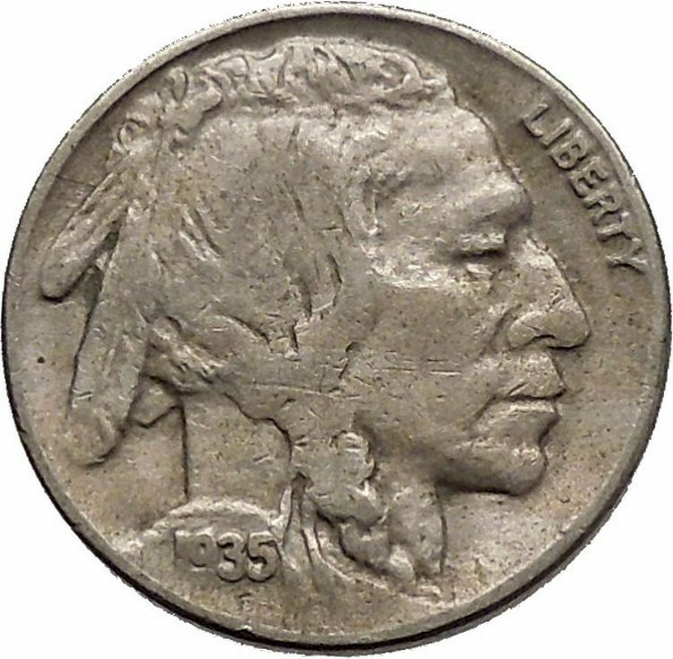 1935D BUFFALO NICKEL 5 Cents of United States of America USA Antique Coin i43797 2