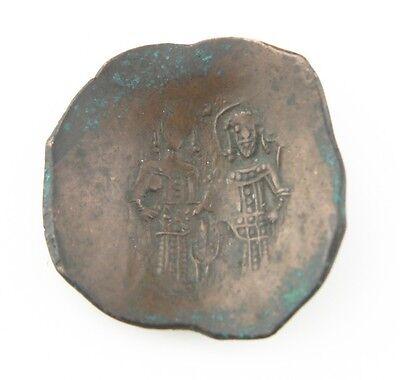 1195-1203 east Roman Byzantine Billon Aspron Trachy VF Alexius III Angelos BMC#5