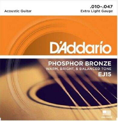 D'Addario EJ-15 Phosphor Bronze extra Light Acoustic Guitar Strings 10-47 10