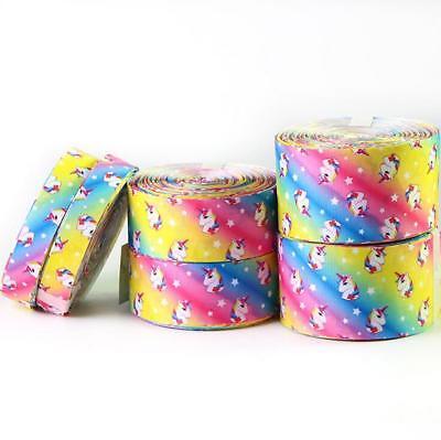 DIY  5 Yards Rainbow Unicorn Grosgrain Ribbon jewelry bow Handmade Gift wrapping