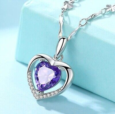 925 Sterling Silver Heart Crystal Stone Pendant Chain Necklace Womens Jewellery 4