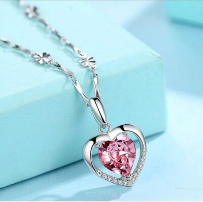 925 Sterling Silver Heart Crystal Stone Pendant Chain Necklace Womens Jewellery 2
