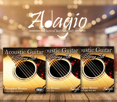 3 PACKS Adagio Pro Acoustic Guitar Strings - Gauges 10, 11 or 12 Phosphor Bronze 5