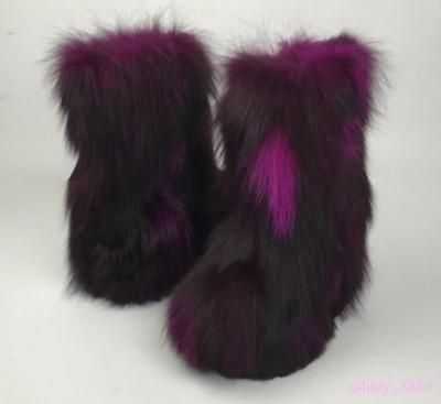 Luxury Eskimo Women Winter New Fluffy Boots Fox Real Vogue Fur Multi Color Boot@