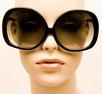 ... Retro Jackie O Oversized Huge Black Round Oval Butterfly Glossy  Sunglasses 1033 3 d7adee65f