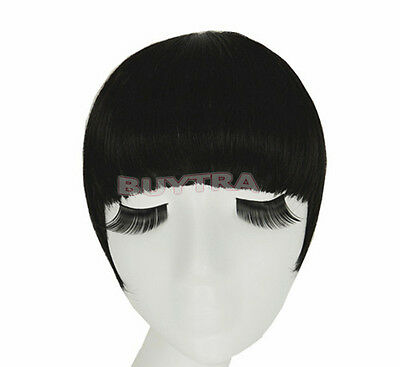 Classic frange clip in on Bangs Straight cheveux brun perruque cheveux noirs~PL 4