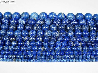 Natural Lapis Lazuli Gemstone Round Beads 15.5'' 2mm 3mm 4mm 6mm 8mm 10mm 12mm 3